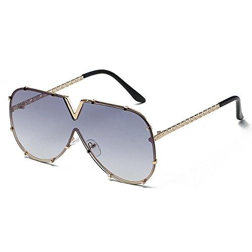 Übergröße Große V Stil Sonnenbrille für Herren Frauen Retro Vintage Driving Aviator Party Motor Eye Wear Schwarz Rosa Objektiv einteilige Rahmen Gläser für Männer Damen mit Fall
