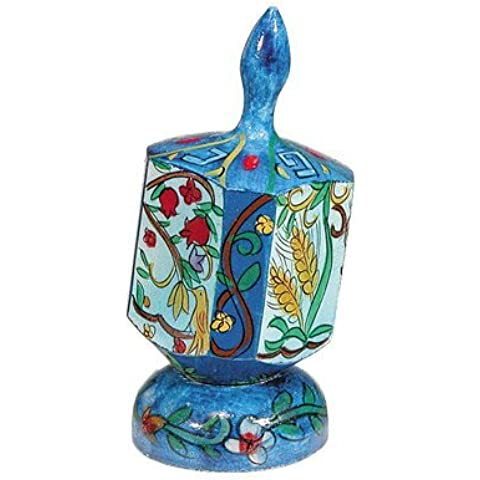 Seven Species Hand Painted Large Wooden Dreidel and matching Stand by Yair Emanuel by Yair Emanuel