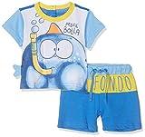 Chicco Completo t-Shirt Manica Corta + Pantaloncini (Bianco E Blu 038), 80 (Taglia Produttore:080) Bimbo