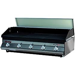 Dolcevita BBQ Euro 5 Barbecue a Gas con Valvola di Sicurezza da Incasso e Appoggio, Nero, 100 x 56 x 33 cm