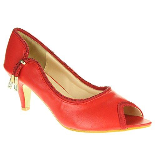 Donne Le Signore Due Toni Sera Festa Nozze Nuziale Ballo di fine anno Casuale peeptoe Tacco Medio Sandali Scarpe Taglie Luce rossa