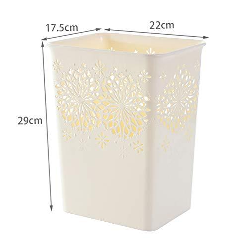 D&LE Dekorative Quadratische Papierkörbe, Hohle Blume Fürm Kunststoff Kunststoffbehältnis Mülleimer Papierkorb Für Die Bäder Puderräume Küchen Home Büros-beige 22x17.5x29cm -