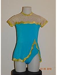 CREATJUSTO Justaucorps GR Modèle Flore Turquoise Jaune 27fb9d8896a