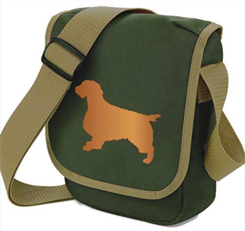 Springer Spaniel Hundetasche Reporter Bag Spaniel Schultertasche Silhouette Springer Geschenk Farbwahl, Grün - Red Dog Olive Bag - Größe: Small/Medium -