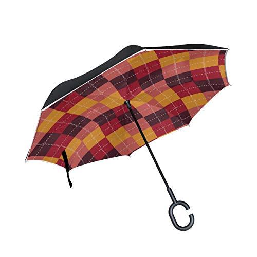 Roter dekorativer Diamant Verzierungs Doppelschicht faltender Anti Uv Schutz winddichter Regen gerader Auto Golf umgekehrter umgekehrter Regenschirm Stand mit C förmigem Griff