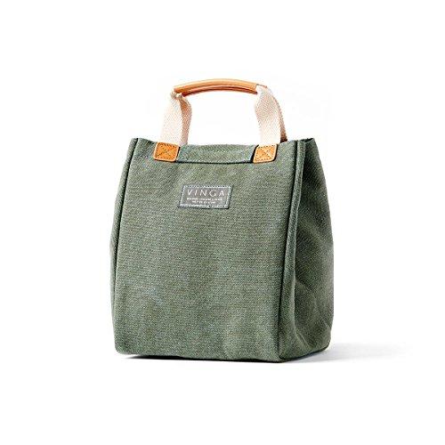 noTrash2003® Sac isotherme Mini Clifton délavé coton couleurs assorties Sac panier pique-nique repas, vert, 24,5 x 19,00 x 19,00 cm