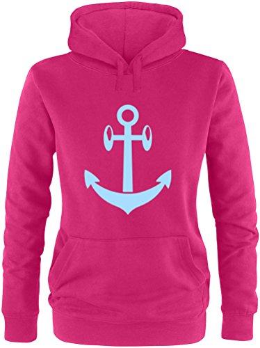 EZYshirt® Anker Maritim Damen Hoodie Sorbet/Hellblau