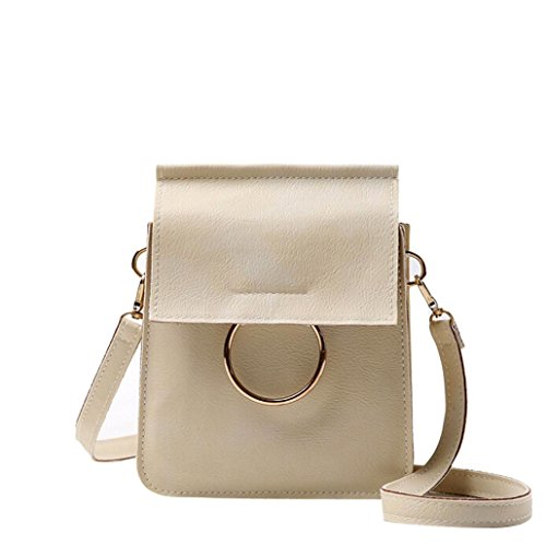 Transer Women Shoulder Bag Popular Girls Hand Bag Ladies PU Leather Handbag, Borsa a spalla donna Multicolore Green 15cm(L)*20(H)*4cm(W), Pink (Multicolore) - CQQ60901348 Beige