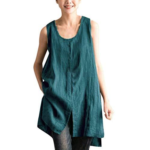 Zolimx Ärmelloses Einfarbiges Damen-Baumwoll OberteilFrauen Lösen Sommer Beiläufige Oansatz feste ärmellose Trägershirt-Bluse -