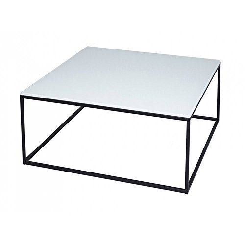 Gillmore Space Verre Blanc et Table Basse carré Contemporain de Black Metal