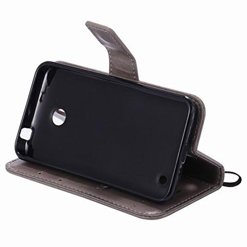 Custodia Microsoft Lumia 635 Cover Case, Ougger Fortunato Foglia Stampa Portafoglio PU Pelle Magnetico Stand Morbido Silicone Flip Bumper Protettivo Gomma Shell Borsa Custodie con Slot per Schede (Ros Argento
