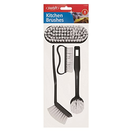Swish assortiti 4 Piece Kitchen Brush set include 2 Dish/pan scrubber rondelle, 1 Medium Floor/Urface Scubber e 1 chiodo/Small (Pan Scrubber)