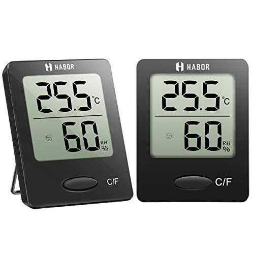Habor 2 Stück Hygrometer Innen, Digital Thermometer Innen, Tragbares Hydrometer Feuchtigkeit mit Hohen Genauigkeit, Luftfeuchtigkeitsmessgerät Innen, Thermo-Hygrometer für Babyraum, Wohnzimmer, Büro -