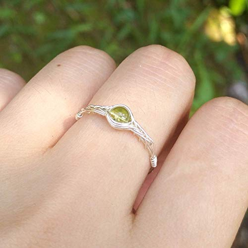 S (J 1/2- Y Available) Natural Peridot Stone 925 Sterling Silver String  Winding Gemstone handmade ring