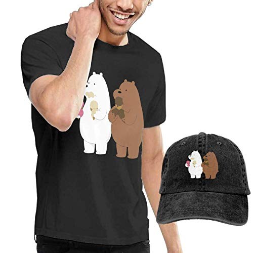 Cream Herren Ice Kostüm Mann - Baostic Herren Kurzarmshirt Ice Cream Bear Fashion Men's T-Shirt and Hats Youth & Adult T-Shirts