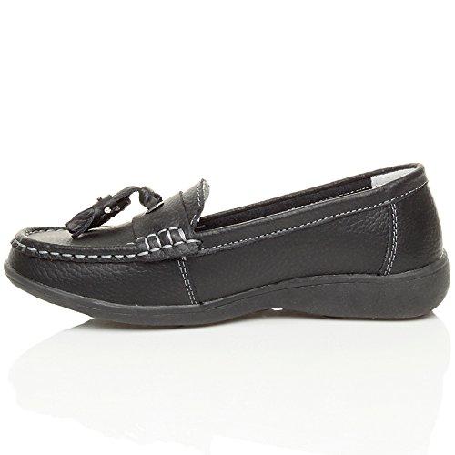 Femmes bas talon compensé pompon confort chaussures de bateau mocassins pointure Noir