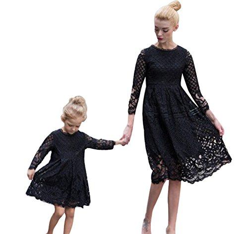 Minetom estate madre e figlia genitore-bambino gonne sottili donne collo rotonda casual manica lunga pizzo abito mini vestire famiglia dress nero 150 (figlia)