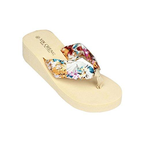 Damen Sommer Schuhe,Xinan Böhmen Floral-Strand-Sandelholz-Keil-Plattform Thongs Slippers Flip Flops (39, Beige) (Beige Thong)