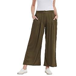Panit Khaki Stylish Pleated Plazzo Trousers Triple Extra Large