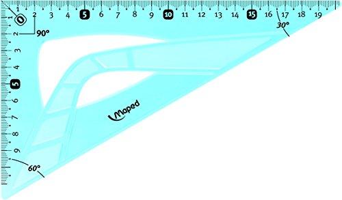 Maped Équerre à 60degrés flexible transparente en plastique Bleu