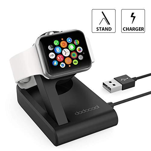 dodocool Cargador Magnético Plegable MFI Certificado para Apple Watch de 38mm/42mm Base Soporte Apple Reloj Ángulo Ajustable 3ft USB Cable Integrado Compatible con Nightstand Modo