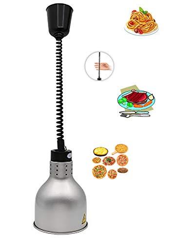 MIAOLEIE Industrielle Vintage Pendelleuchte Retro Hängeleuchte Lampenschirm mit Schalter/Versenkbare Lampe zur Erwärmung von Lebensmitteln/höhenverstellbar(60-180cm),Silver -