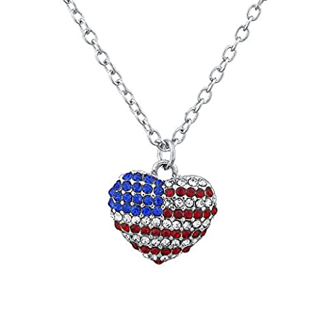 Lux Accessoires Silvertone Pave Drapeau américain Americana Cœur Charm