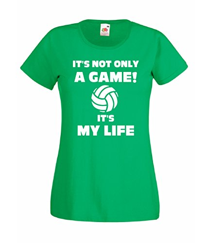 CHEIDEASTORE T-Shirt Maglietta Volley Pallavolo Is My Life Donna Verde