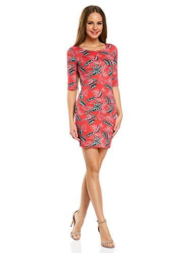 oodji Ultra Damen Enges Jersey-Kleid Rot (4366F)