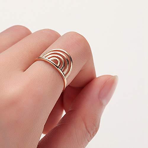 HDDWZH Woman Ring,Indischen Stil Geometrische Ringe Einstellbar Für Frauen Damen Schmuck Zubehör Vintage Fingerring Geburtstagsfeier Geschenk (Indische Ring Nickel)