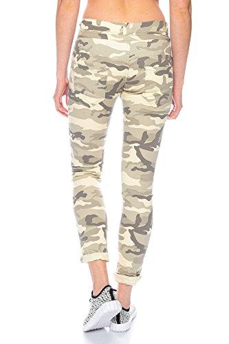 C9148 Damen Hüfthose Camouflage/Uni mit Knopfleiste und Reißverschluss camouflage/hellgrau-beige