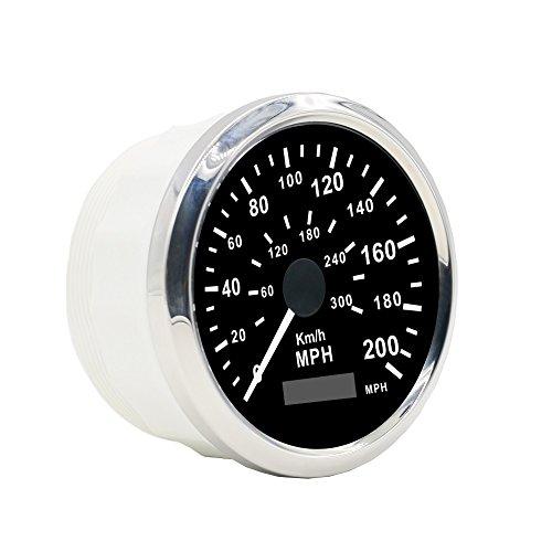 Autool GPS Edelstahl wasserdichter Geschwindigkeitsmesser 0-200KMH 0-300 MPH für Auto Motorrad Truck Vans 85mm 12V / 24V Automotive Instrument Panel Tachometer Messgeräte