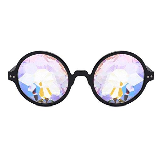 Dragon868,Kaleidoskop Fashion Chic Gebeugt Lustige Unisex Visuelle Erfahrung Foto Requisiten Integrierte Rave Festival Party Brille (Schwarz) (Kids Brille Spy Die)