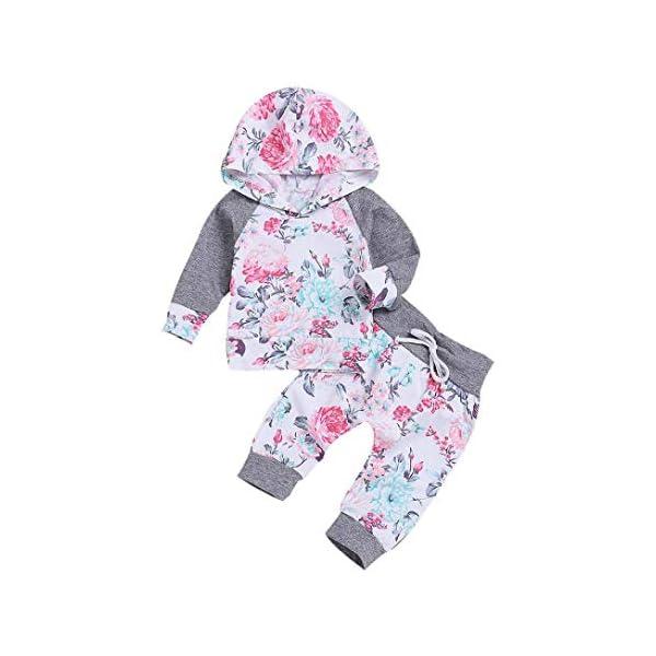 Recien Nacido Bebe Niña Floral Tops con Capucha + Pantalones Conjunto 2 Piezas de Ropa Otoño e Invierno 1