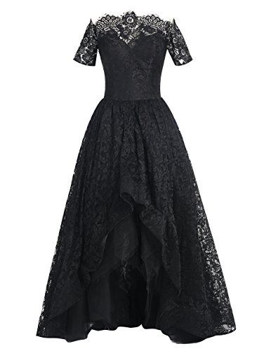 Dresstells Damen Asymmetrie Lang Promi-Kleider Bateau Lace Party Kleider Abendkeleider Purpur