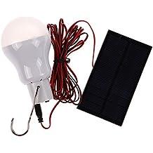 Amazingdeal365 Bombilla de LED solar portátil solar bombilla lámpara foco con 0,8 W Panel