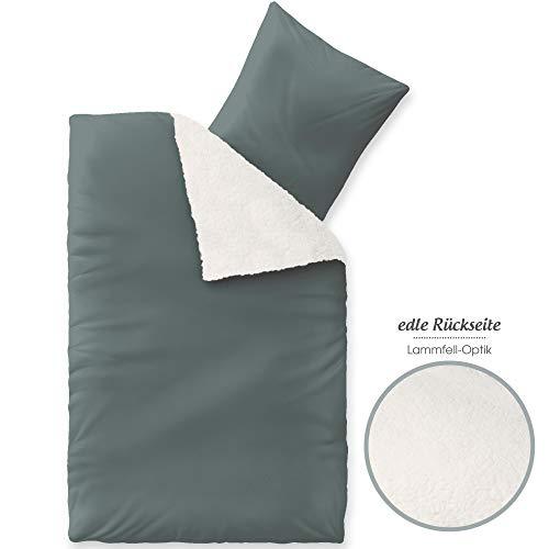 aqua-textil Arctic Bettwäsche 135 x 200 cm 4teilig Lammfell Optik Bettbezug Nicki Fleece Bezug mit Reißverschluss grau