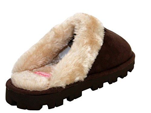 A&H Footwear - Ciabatte da ragazza' donna Dark Brown/White Fur