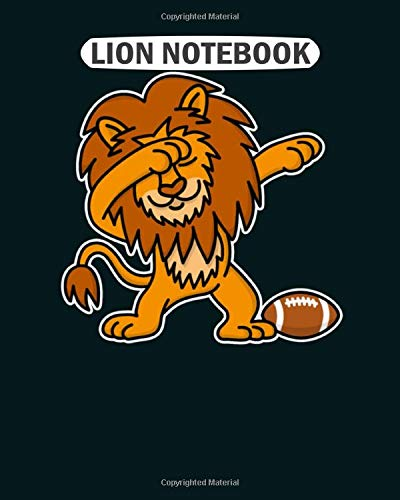 Lion Notebook: dab dabbing lion rugby funny american football  College Ruled - 50 sheets, 100 pages - 8.5 x 11 inches -