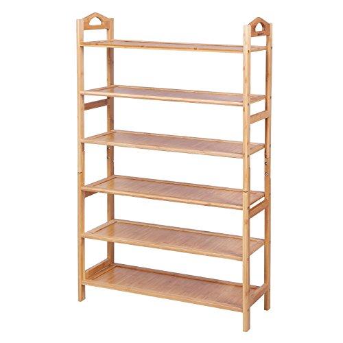 SONGMICS Bambus Schuhregal, 6 Ebenen Badregal, Bambus Standregal, Bücherregal, Schuhschrank für 20 Paar Schuhe, 108 x 67,5 x 25,8 cm ideal für Wohnzimmer, Diele, Flur, Bad LBS96N