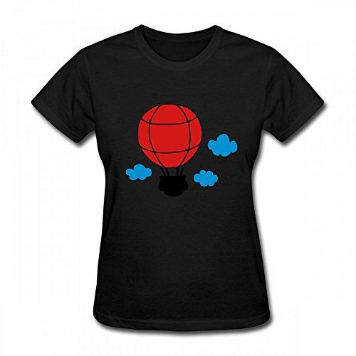 T Shirt For Women - Design Air Balloon and Clouds Shirt Black