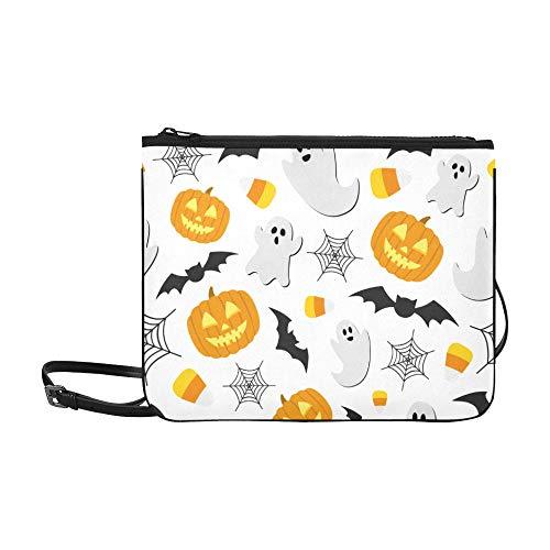 WOCNEMP Spinnennetz und Halloween-Feiertagsmuster benutzerdefinierte hochwertige Nylon dünne Clutch-Tasche Umhängetasche Umhängetasche