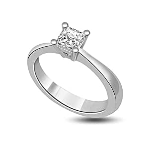 0.20ct G/VS1 Solitaire Diamond Engagement Ring for Women with Princess Cut Diamonds in 18ct White Gold