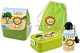 Mein Zwergenland Set 5 Kindergartenrucksack mit Brotdose Maxi, Turnbeutel Baumwolle und Flasche Happy Knirps Next Print mit Name Löwe, 4-teilig, Grün