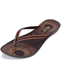 Zenwear Walking Slipper Flip Flop for Women,Brown