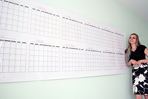 Annual Dry Erase Wall Calendar - Blank Fiscal Wall Planner - Large Calendar 36