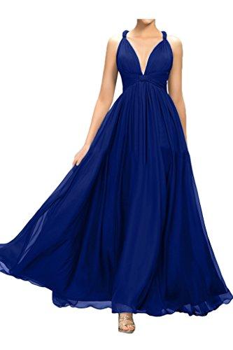 Missdressy Damen Elegant A-Linie Chiffon Lang Traeger Faltenwurf Abendkleider Partykleider Abiball Abschlussball Hochzeitsgast Kleider Royalblau