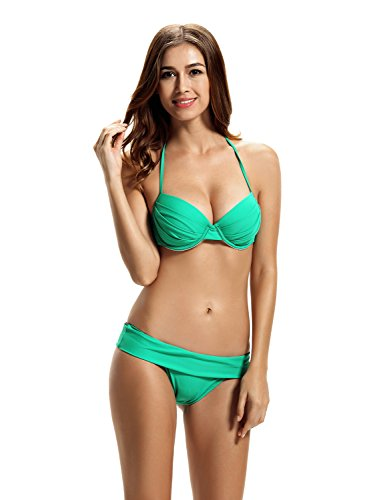 Zeraca Damen Push-up Top Foldover Unten Bikini Badeanzüge Polo Match Green