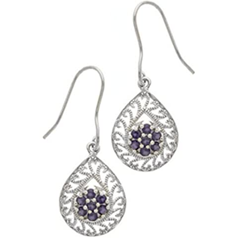 & vera ametista, argento Sterling, design a filigrana-Orecchini pendenti, a forma di pera