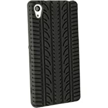 igadgitz Negro Goma Funda Silicona Gel Neumático Para Sony Xperia Z2 D6503 + Protector Pantalla